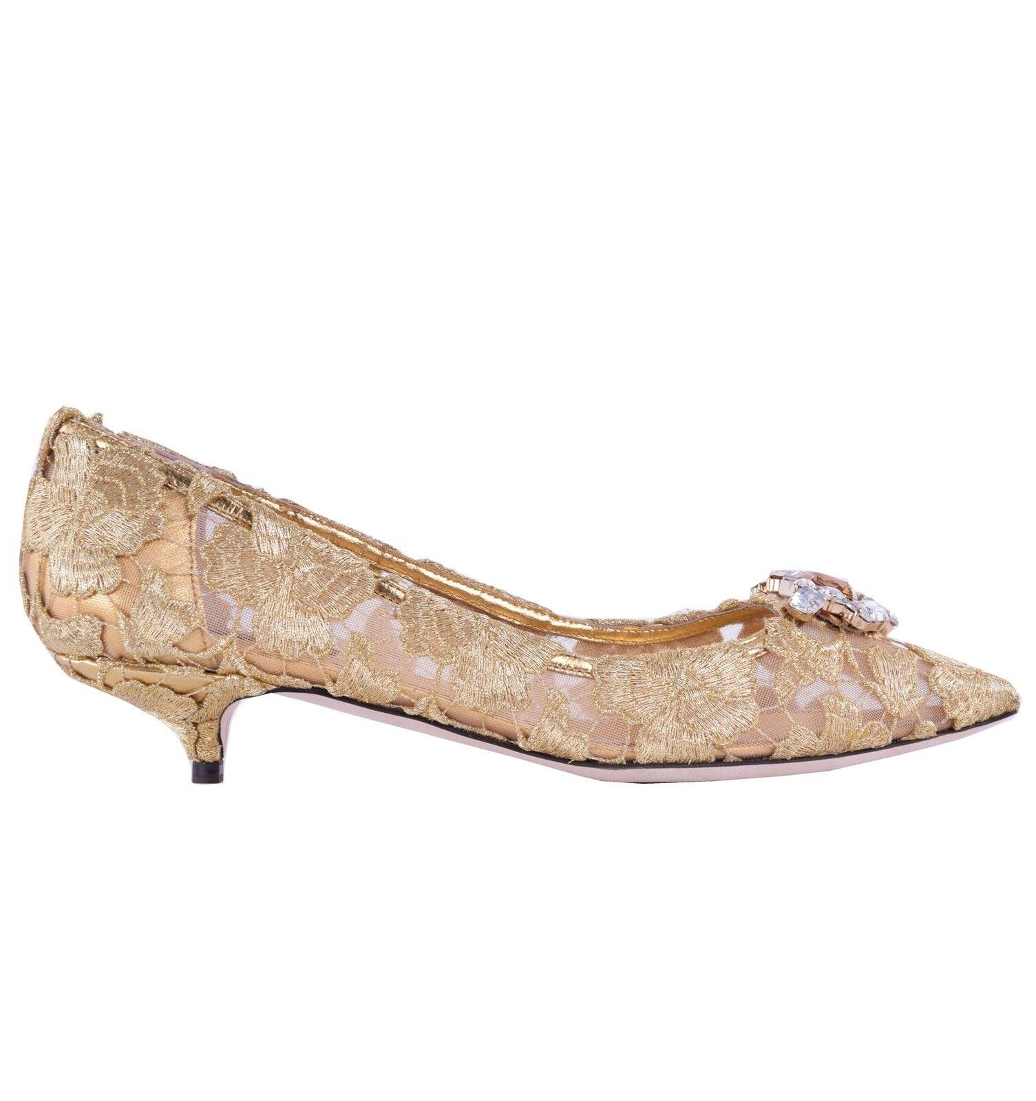 DOLCE & GABBANA mit BELLUCCI Pumps aus Spitze mit GABBANA Kristall-Brosche Gold Schuhe 05006 fecb35