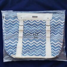 Miche Ione Demi Shell Blue White Chevron Pattern Purse Shoulder Bag NIP