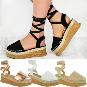 cb6f9a3f20d Image is loading Womens-Ladies-Platform-Lace-Up-Strappy-Flatforms-Sandals-