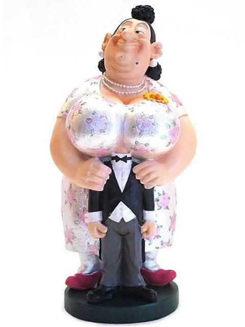 Albert Dubout Figurine Souriez Grande Femme et Votre Petit Bonhomme Sculpture