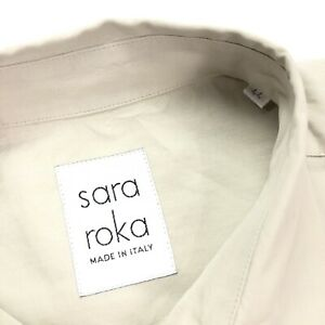 Sara-Roka-Women-s-Cotton-Dress-Button-Up-Khaki-Tan-Italy-Size-44