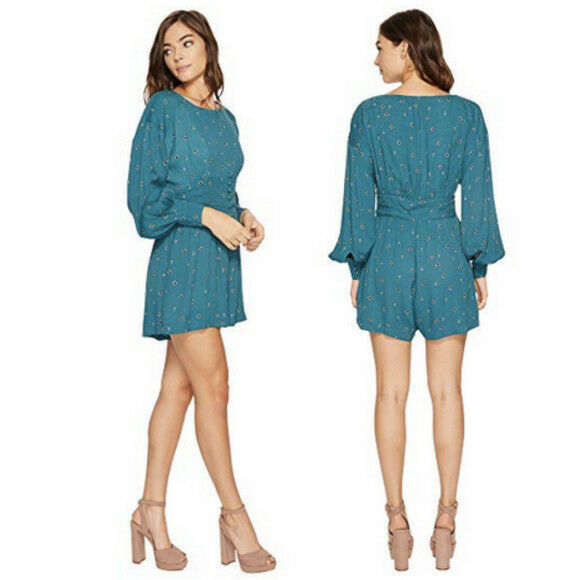 Free People Romper Long Sleeve Green Button NEW