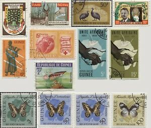 Guinea-lot-of-13-stamps-1960-1963