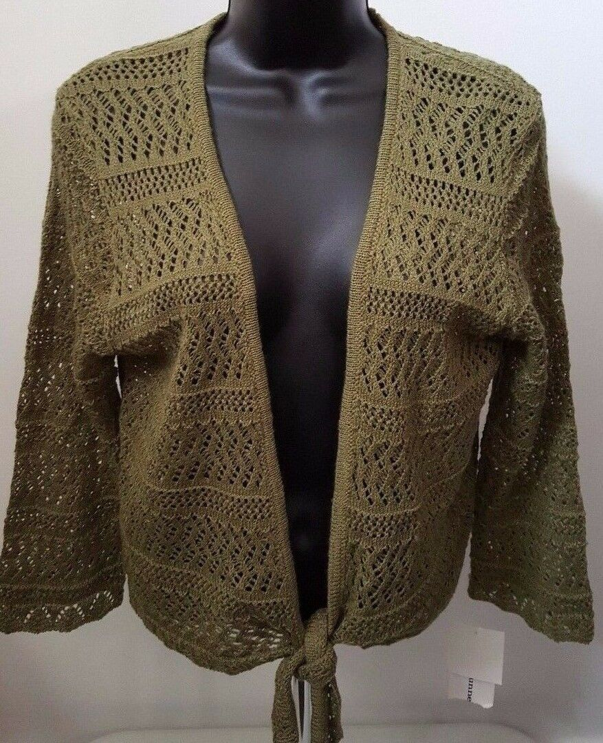 Alfred Dunner Size M Sweater Top NWT Green Tie Front