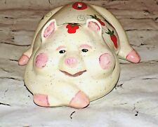 Vintage Atlantic Mold Ceramic Pig Piggy Bank Handpainted Strawberries 1970's