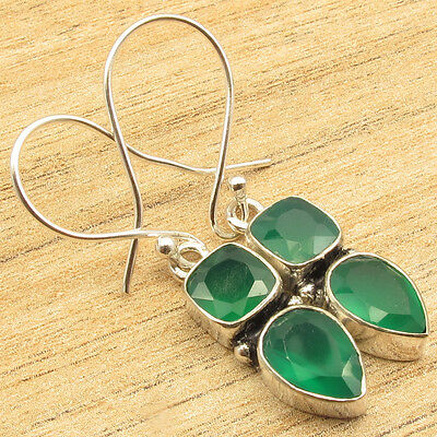 925 Silver Plated Jewelry ! GREEN ONYX 2 STONE DESIGNER 1 1/2 Inches Earrings