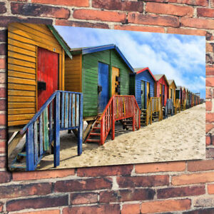 "Coloured Beach Huts Printed Canvas Picture A1.30/""x20/""x30mm Wall Art Nautical"