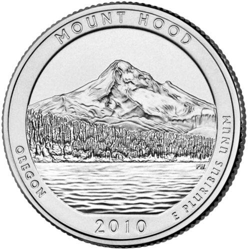 "OREGON /""ATB/"" NATIONAL PARK QUARTER P+D MINT 2-COIN SET BU 2010 MOUNT HOOD"