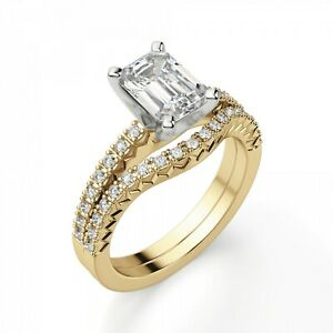 2.50 Ct Emerald Real Moissanite 14K Engagement Band Set Solid Yellow Gold Size 8