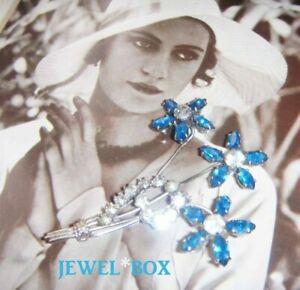 EARLIER-VINTAGE-Sapphire-Marquise-Crystal-Diamond-Rhinestone-Wired-Flower-Brooch