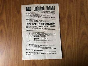 VOLANTINO PROPAGANDA ELEZIONI POLITICA FELICE BERTOLINO CUNEO SUBALPINA WW