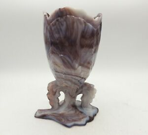 Antique-Northwood-Mosaic-Maple-Leaf-Chalice-Vase-Purple-Slag-Glass