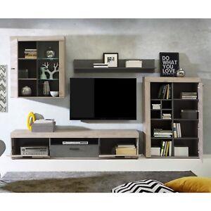 Composición salón, comedor color Roble Nelson y Cemento, modelo Valentin.