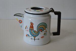 Berggren Scandinavian Enamelware Teapot Rooster Vintage Flowers Clean W/Inserts