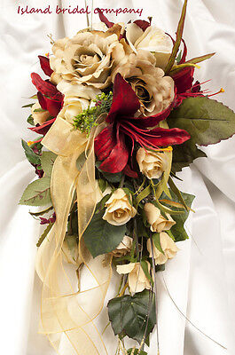 Celtic Bride Silk Wedding Bouquet Red Ivory Champagne 2 Piece