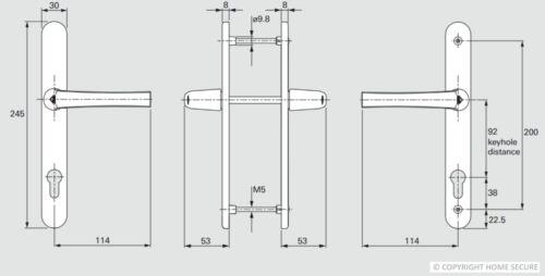 200mm Screws D73 To Suit Roto Locks UPVC Door Handles 92mm PZ