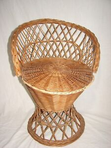 Image Is Loading Vintage Wicker Rattan Child 039 S Peacock Chair