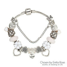 Silver Crystal Heart Charm Bracelet Rhinestone Charms Bangle Jewelry Gift