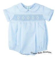 Feltman Bros Brothers Boys Blue Diamond Smocked Romper Newborn Baby Blue