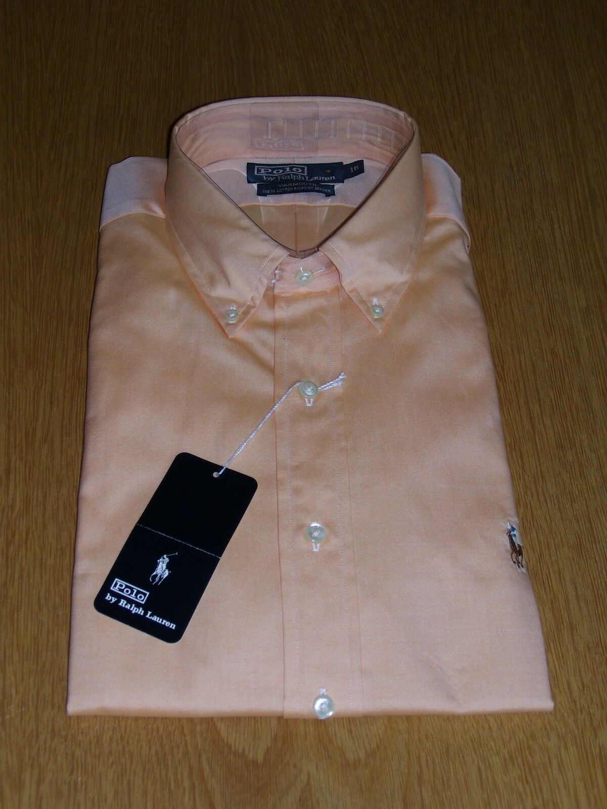 Polo by Ralph Lauren Hemd, Langarm, Oxford, lachs, apricot, Gr. 16, ( L ),  neu