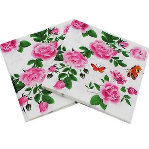 20pcs rose floral paper napkins for decoupage wedding decoration image is loading 20pcs rose floral paper napkins for decoupage wedding junglespirit Gallery