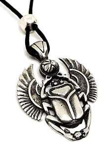Scarabee-Coleoptere-Egyptien-Pendentif-Symbole-de-Long-Vie-Perle-Cordon-Dentelle