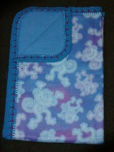 CRIB/NAP QUILT/FLEECE/HANDCRAFTED- FUN TUMBLING MONKIES IN BLUE & PURPLE