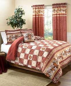 3pc Heart Stars Berries Checked Comforter Sham Set Country