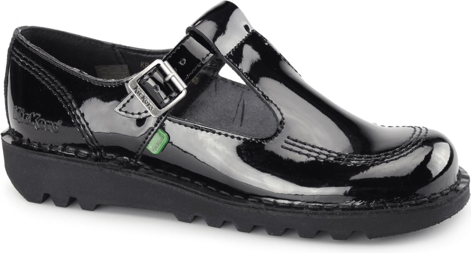 Kickers KICK LO AZTEC Ladies Womens Patent Leather T-Bar School shoes Black