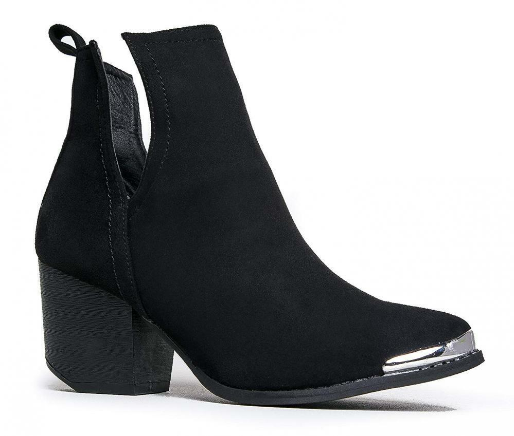 J. Adams Tess Western Bootie - Slip On V-Cut Out Metal Tipped Stacked Heel Boot