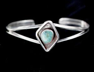 VTG-Old-Pawn-Navajo-Sand-Cast-Sterling-Silver-Kingman-Turquoise-Cuff-Bracelet