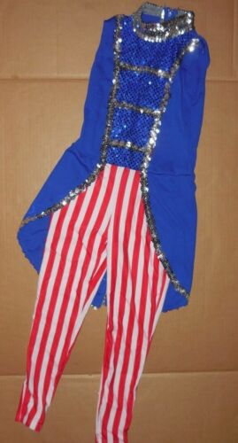 NWOT Toy Soldier Nutcracker wTails Spandex Dance costume sequin trim zipper back