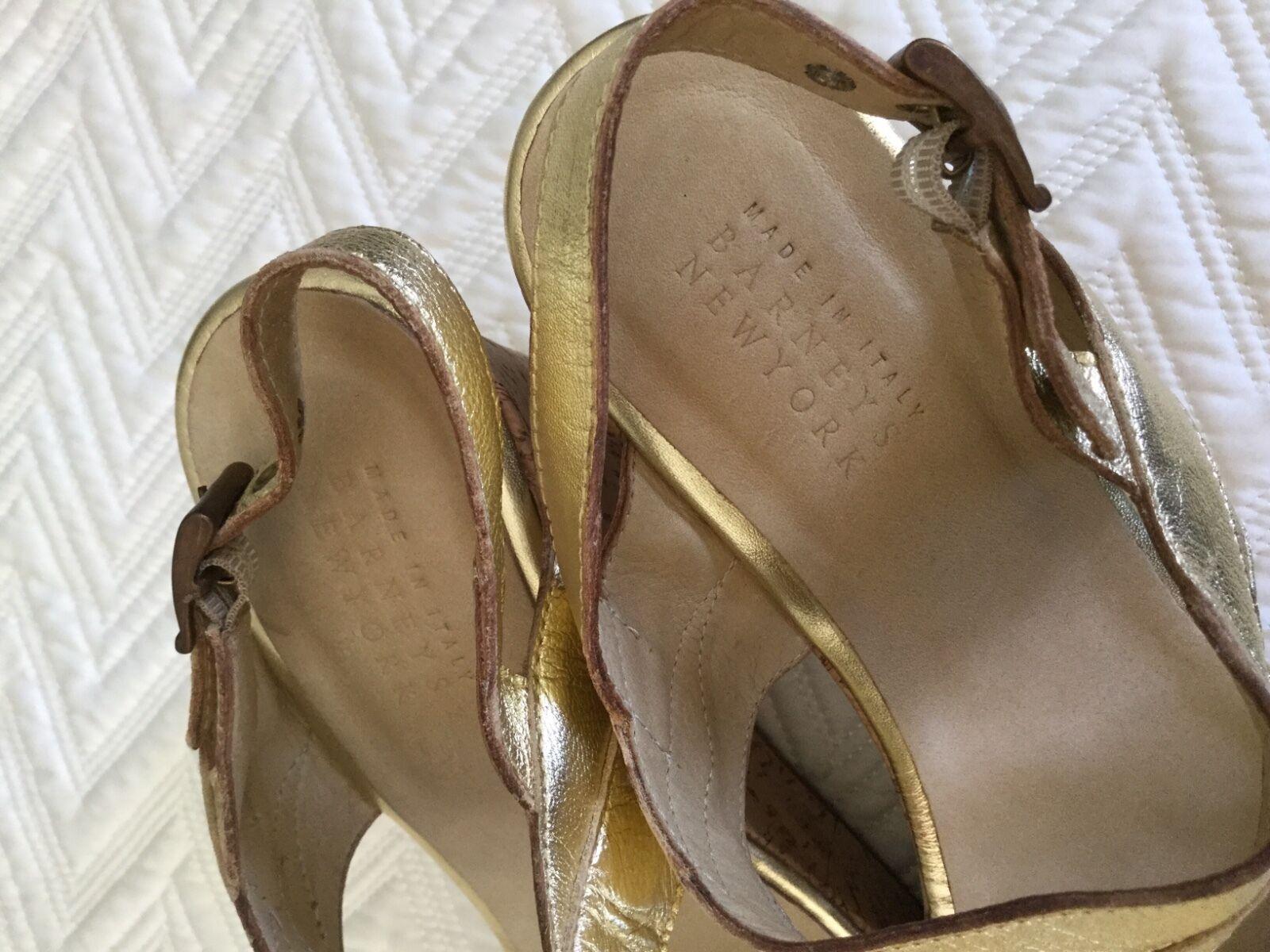 Woman's Barneys New  York Barn gold   New platform sandals  40/10 heels shoes b6cfdc