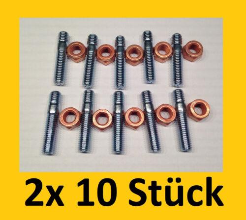 10Stück Stehbolzen M8x40 M8 SW 12 Kupfermutter Katalysator Mutter