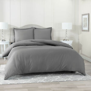Duvet-Cover-Set-Soft-Brushed-Comforter-Cover-W-Pillow-Sham-Gray-Full