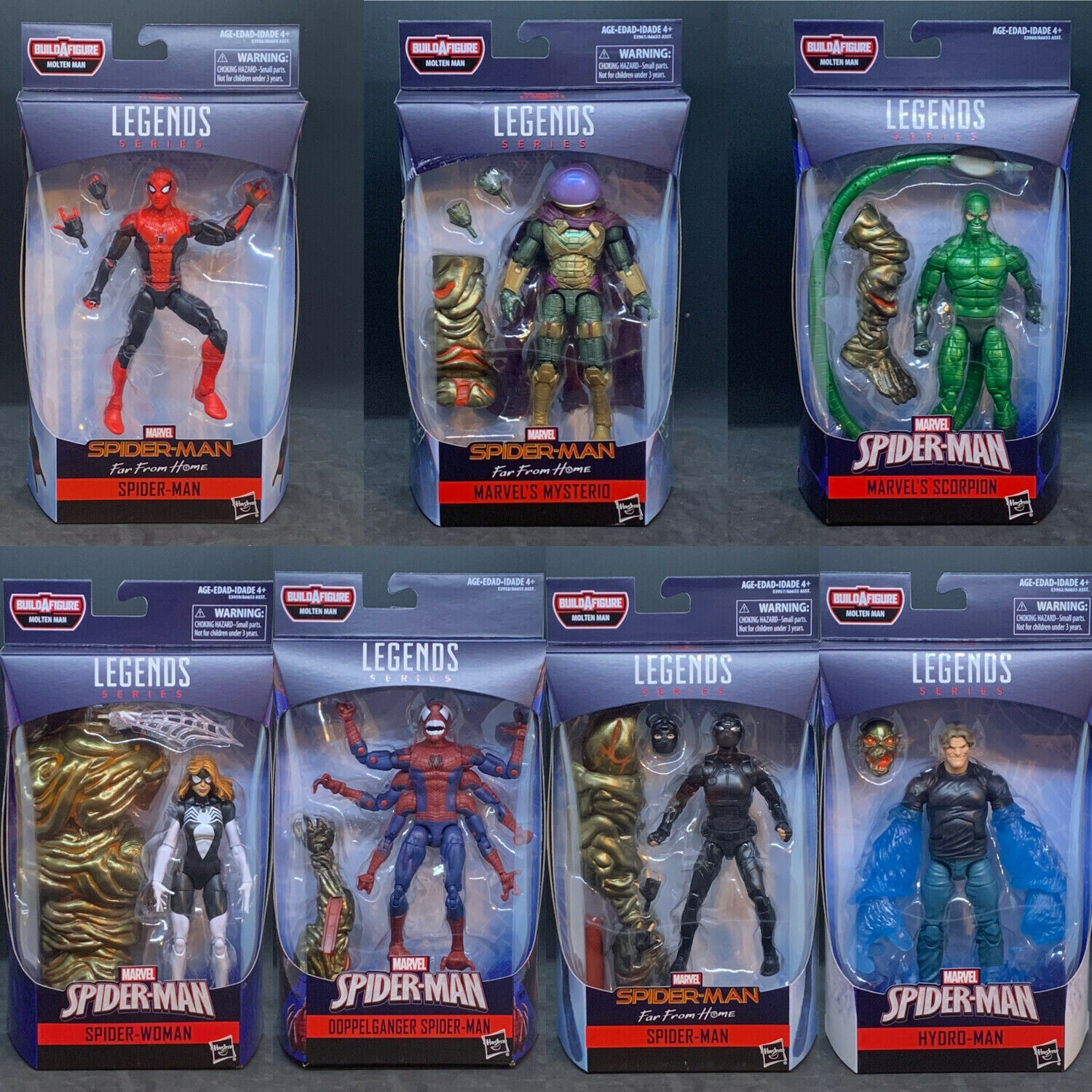 Marvel Legends 6  Spider-Man Far From Home Wave 1 - Set of 7 (MOLTEN MAN BAF)