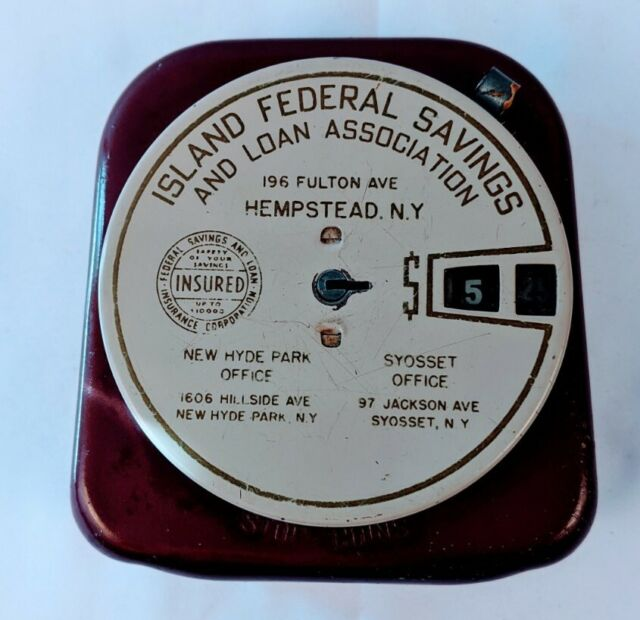 Vintage Add-A-Coin Bank Island Federal Savings Hempstead New York - No Key