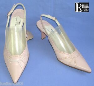 LUCIANO-DI-ROMA-SANDALES-TALONS-7-5-CM-TOUT-CUIR-ROSE-PALE-41-NEUF