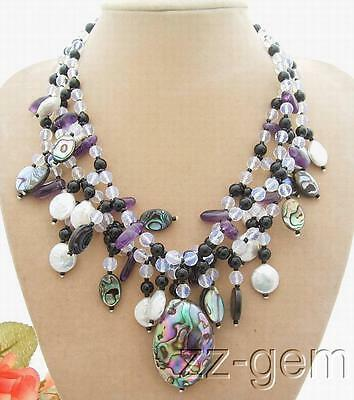 N0804053 3Strands Coin Pearl&Onyx&Amethyst&Paua Abalone Shell Necklace