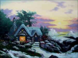 Quality-Hand-Painted-Oil-Painting-Oceanside-Cottage-12x16in