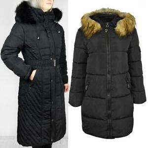 Plus Size Womens Fur hooded Quilted Padded Winter Long Coat Puffa Parka Jacket 1