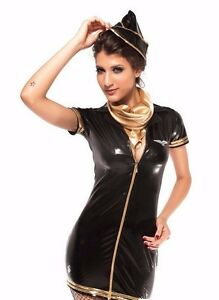 Black Flight Attendant Halloween Costume Latex Exotic Gold Accent One Size 8521