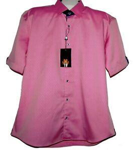 Maceoo Galileo Dot Red Italian Fabrics Cotton Men's Shirt Sz 5/ XL NEW