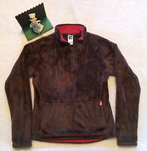 43fbd5e97 Details about Womens M The North Face Fleece Jacket 1/2 Zip Pullover Brown  Fuzzy SOFT Pile