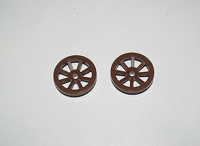 Lego ® Chevalier Lot x2 Roues Charrette Marron 27 mm Brown Wheels Spoked 2470