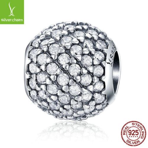 Véritable S925 Sterling Silver Round Charm se lever zircon cubique perle pour FASHION GIRL Bracelet
