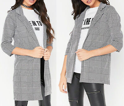 Bescheiden Dogtooth Check Longline Duster Coat Womens Casual Open Front Smart Blazer Cheap