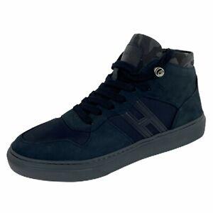 Details about B96 sneakers uomo HOGAN H365 BASKET irregular grain leather blue shoes men