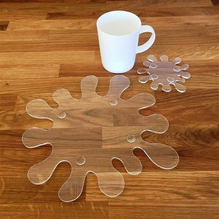 Splash Shaped Placemat and Coaster Set - Clear