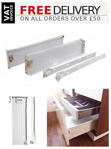 Kitchen Roller Runners all sizes Kitchen Metal Drawer Box Sides White//Silver